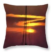 Yacht At Sunset Throw Pillow
