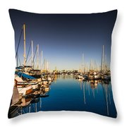 Yacht At The Pier  Throw Pillow