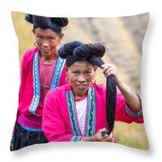 Yao Ethnic Minority Women On Rice Terrace Guilin China Throw Pillow