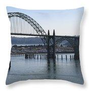 Yaquina Bay Bridge - Newport Oregon Throw Pillow by Daniel Hagerman