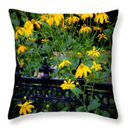 Yellow Coneflowers Echinacea Wrought Iron Gate  Throw Pillow by Rich Franco