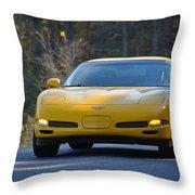 Yellow Corvette Throw Pillow