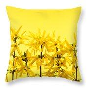 Yellow Forsythia Flowers Throw Pillow