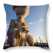Venetian Carnival. Yellow Rose Charmer By Zina Zinchik Throw Pillow