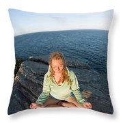 Yoga On Rocky Outcrop Above Ocean Throw Pillow