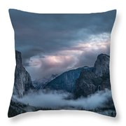 Yosemite In Clouds Throw Pillow