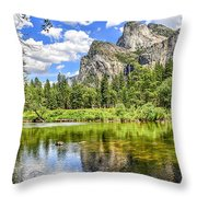Yosemite Merced River Rafting Throw Pillow
