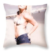 Young Attractive Travel Woman At Beach Throw Pillow