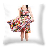 Young Beautiful Dancer Posing On White Background Throw Pillow