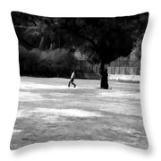 Young Boys Playing Cricket In A Park Near Delhi Zoo Throw Pillow