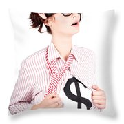 Young Businesswoman Super Hero Showing Dollar Sign Throw Pillow