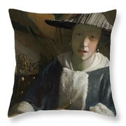 Young Girl With A Flute Throw Pillow