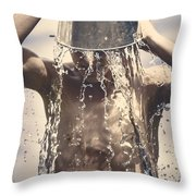 Young Man Having Fun On A Tropical Summer Holiday Throw Pillow