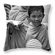Young Monks Bw Throw Pillow