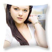 Young Pretty Business Travel Woman With Luggage Throw Pillow