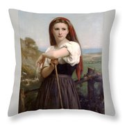 Young Shepherdess Throw Pillow