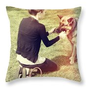 Young Woman In 20s Playing Fetch With Her Dog Throw Pillow