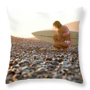 Young Woman Walking On Beach Throw Pillow