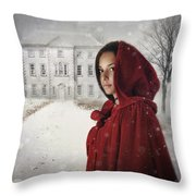 Young Woman Wearing Hooded Cape In Snowy Winter Scene Throw Pillow