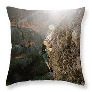 A Man Rock Climbing In Pinnacles Throw Pillow