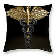 Caduceus Throw Pillow