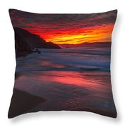 Campelo Beach Galicia Spain Throw Pillow