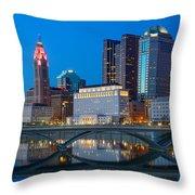 Fx2l-516 Columbus Ohio Night Skyline Photo Throw Pillow