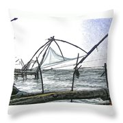 Fishing Nets On The Sea Coast In Alleppey Throw Pillow