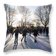 Ice Skating At Hampton Court Palace Ice Rink England Uk Throw Pillow
