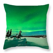 Intense Display Of Northern Lights Aurora Borealis Throw Pillow