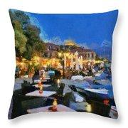 Molyvos Town In Lesvos Island Throw Pillow by George Atsametakis