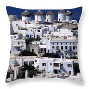 Mykonos Town Throw Pillow