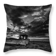 Stunning Black And White Image Of Abandoned Boat On Shingle Beac Throw Pillow