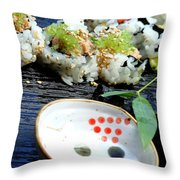 Sushi California Roll Throw Pillow