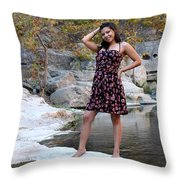 Young Hispanic Woman Throw Pillow
