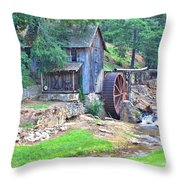 Sixes Mill On Dukes Creek - Square Throw Pillow