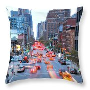 10th Avenue Rush Hour Throw Pillow