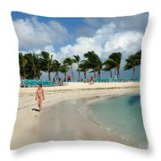 Beach At Coco Cay Throw Pillow