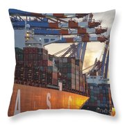 Hamburg Harbor Container Terminal Throw Pillow