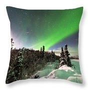 Intense Display Of Northern Lights Aurora Borealis Throw Pillow