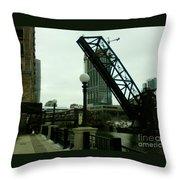 Kinzie Street Bridge Throw Pillow