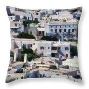 Mykonos Town Throw Pillow