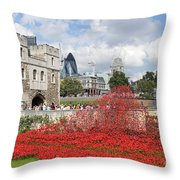 Remembrance Poppies At The Tower Of London Throw Pillow