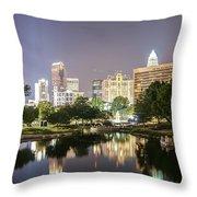Skyline Of Uptown Charlotte North Carolina At Night Throw Pillow