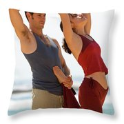 A Man And Woman Practicing Yoga Throw Pillow