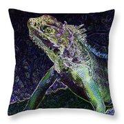 Abstract Cayman Iguana Throw Pillow