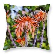Aloe Vera Flowers Throw Pillow