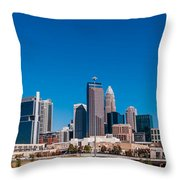 Charlotte City Skyline Autumn Season Throw Pillow
