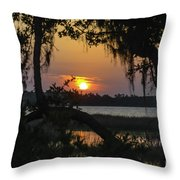 Lowcountry Spanish Moss Sunset Throw Pillow
