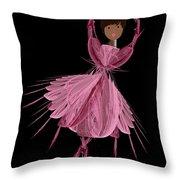 12 Pink Ballerina Throw Pillow